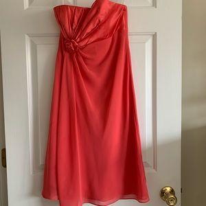 David's Bridal, Strapless, Pink, Bridesmaid Dress